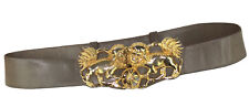 Judith Leiber Gold Chinese Fu Foo Dog Ming Buckle Adjustable Leather Taupe Belt
