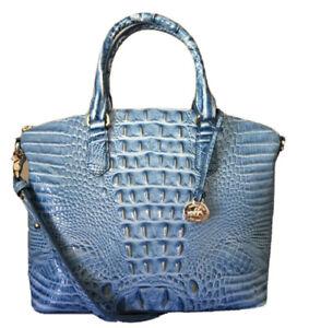 Brahmin M Duxbury Satchel in Cerulean Blue Melbourne Croc Embossed Leather New