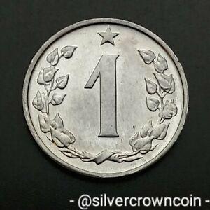 Czechoslovakia 1 Haler 1962. KM#51. One Cent Heler Heller Coin. Czech Lion.