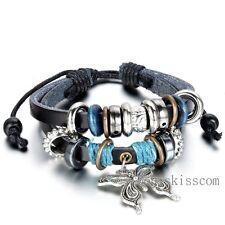 Butterfly Charm Women Tribal Wrap Leather Surfer Adjustable Bracelet Wristband
