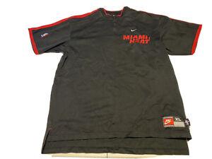 Vintage 90s Nike Team Sports Authentic NBA Miami Heat Warm Up Zip Top XL Black