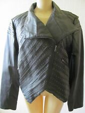 SHARIF BLACK STUDED LEATHER LONG SLEEVE QUILTED JACKET SIZE M