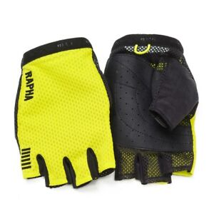 NEW RAPHA YELLOW MITTS GLOVES CHARTREUSE ROADWEAR RACING GLOVES SIZE XS