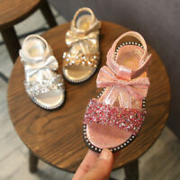 Toddler Infant Baby Kids Girls Bowknot Bling Sequins Princess Shoes Sandals