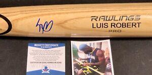 Luis Robert Chicago White Sox Signed Engraved Blonde Bat BECKETT WITNESS COA