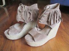 "ASH Zania d'Orsay Suede Fringe Espadrille Sandals 6"" Heel Neiman Marcus Size 9"