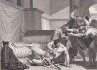 Gravure XVIIIe Caton d'Utique Marcus Porcius Cato Uticencis Jules César 1799