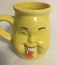 "Vintage Coffee Cups Mug Smiley Face Yellow EUC By 26UB 4"" Rare And Unusual Fun"