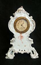 Antique Mini Wind Up Phelps & Bartholomew Ansonia China Porcelain Cherub Clock