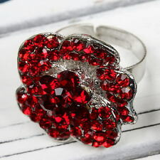 1pc Shiny Red Crystal Bead Rose Flower Band Finger Ring Women Jewellery Fashion