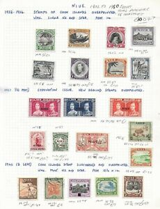 Niue Cook Is Stamp Collection 1902-50 inc 3/, 2/-, SG4?. Cat: £100+?