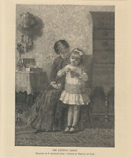 VICTORIAN LADY GIRL KNITTING CRAFTING CRAFTS ANTIQUE KNITTING PRINT 1886