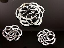 Silvertone Tailored Swirl Pin Brooch Earring Set Coventry Jewelry Signed Box