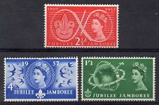 GB estampillada sin montar o nunca montada sello conjunto 1957 World Scout Jamboree SG 557-559 Umm