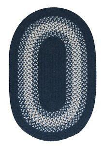 North Ridge Navy Blue Bordered Wool Blend Country Farmhouse Oval Braided Rug