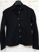 ROMEO GIGLI Long Sleeve Button Front Shirt Size XL Solid Black Stretch Cotton
