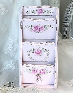 Vintage Mail Letter Holder Shabby Chic Pink Roses HP Country Cottage Wall Art