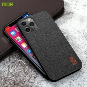 For iPhone 12 Pro Fabric Case / 12 Pro Max TPU Back Cover Luxury Fundas Coffee