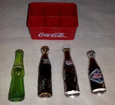 Vintage rare Coca Cola, double Pepsi Cola green mini bottles + crate