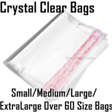 100 Bags Clear Resealable Reclosable Storage Baggies Cello Lip Tape Plastic Bag