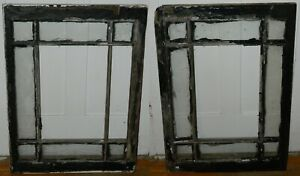 """Pair of Distressed 1910 9 Pane Attic Windows Painted Patched 24 1/4"""" x 32 1/4"""""""
