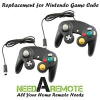 2 Black Game Pad Cube Controller Remote For Nintendo Wii GameCube Brand New 3Z