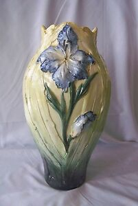 """Old 16"""" Yellow Majolica Pottery Vase w Blue Lily Flower Relief Decor / Beautiful"""