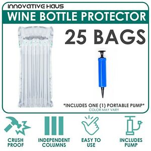 Innovative Haus Pack of 25 Wine Bottle Protector Air Bag with Free Pump