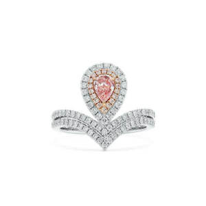 0.85Ct Classic Pear Cut Fancy Brown Pink Diamond Ring Natural 18K White Gold GIA