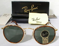 New Vintage B&L Ray Ban Small Round Metal with Tortoise W1675 47mm USA Tortuga