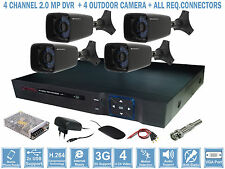 SET OF 4 OUTDOOR NIGHT VISION CCTV CAMERA + 2.0 MP 4CH DVR + REQ. CONNECTORS