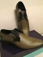 Mens Antique Gold Pointed Toe Wingtip Dress Shoes Majestic 99506 size 9.5
