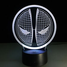 3D Night Light Acrylic Lamp Touch Switch Colorful Marvel Deadpool Mask Table Toy