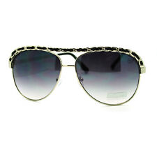 Leather Weave Chain Flat Top Classic Women's Aviator Sunglasses - Black
