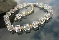 Pearl Crystal Cube 5601 Sterling Silver Bracelet made with Swarovski Elements