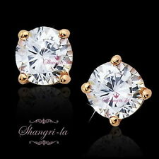 18K Rose GOLD GF Stud EARRINGS D=6mm 2.0CT Round Cut SWAROVSKI DIAMOND ES102