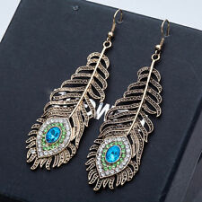 Vintage retro style large peacock eye feather dangle hook earrings with crystal