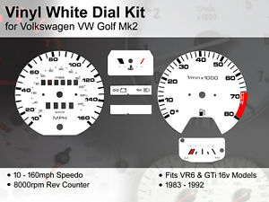 Volkswagen VW Golf Mk2 (1983 - 1992) - 160mph GTi / VR6 - Vinyl White Dial Kit