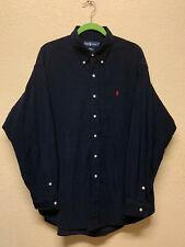 POLO RALPH LAUREN navy blue BLAKE microfiber corduroy long sleeve shirt Mens XL