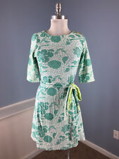 Barbara Gerwit S Green mosaic Floral Sheath Dress short sleeve belt Excellent