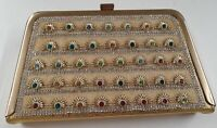 WOMEN'S GOLD CRYSTAL CLUTCH LADIES MULTI COLOR STONE BOX SHAPED PURSE HAND BAG