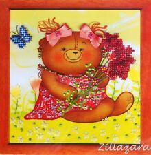 Kinder Motiv Bär Bärchen Schmetterling Stickpackung Blume sticken Perlen 368