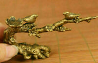 Rare chinese old bronze hand carving birdie tree statue figue netsuke noble gift