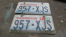 2 Washington State license plates Plate Wa car truck matched pair set - 957 Xjs*