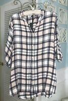 NEW Plus Size 1X Plaid Button Shirt Top Blouse $69