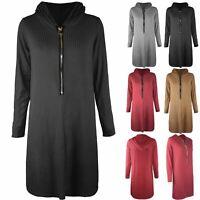 Womens Ladies Zip Up Rib Baggy Long Sleeve Hooded Hoodies Sweatshirt Mini Dress