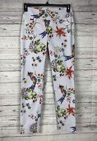 Peck & Peck Women's Blue / White Floral Pull On Elastic Waist Stretch Pants Sz 2