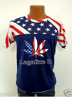 Legalize It MJ Weed American USA Flag Top Tee Shirt