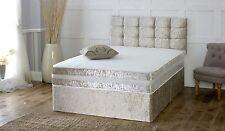 Solid Heavy Duty Reinforced Divan Bed Luxury Crushed Velvet 5ft King Size