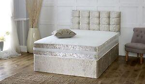 Solid Heavy Duty Reinforced Luxury Divan Bed Modern Crushed Velvet 4ft6 Double